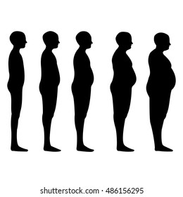 degree of obesity, the silhouettes of men with different degrees of obesity, from lean to thick, concept of diet and reducing excess weight. Vector illustration for print or design medical website