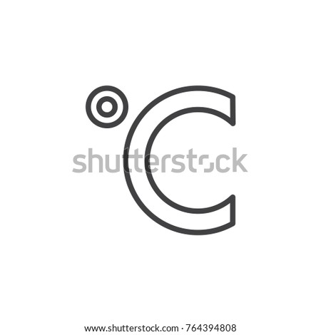 Degrees Celsius Temperature Line Icon Outline Stock Vector Royalty
