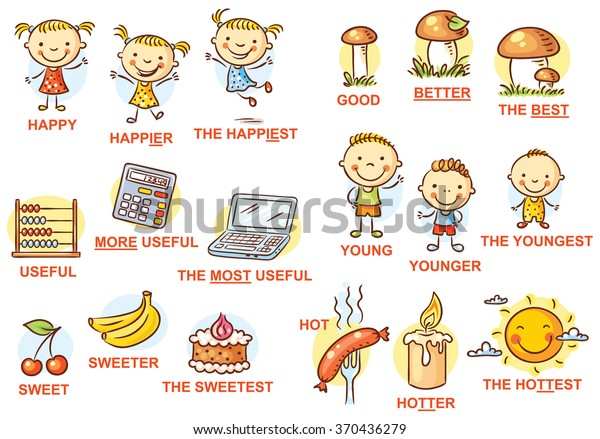 Degrees of comparison of adjectives in pictures, colorful cartoon