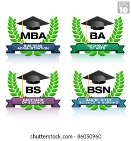 Degrees in education with wreath and graduation hat, including MBA, BA, BS, BSN