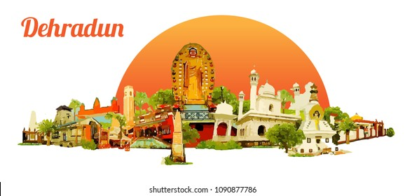 DEHRADUN city colored watercolor painting illustration