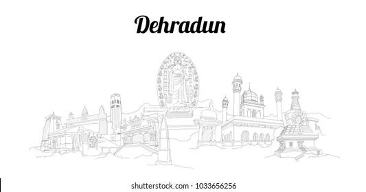 Dehradun city vector panoramic hand drawing sketch illustration
