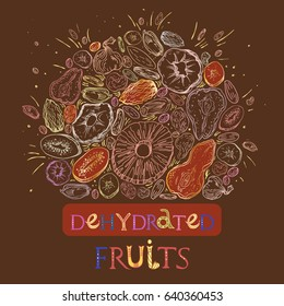 Dehydrated fruit round shape pattern in engraved style with golden elements and lettering. Fully editable color vector illustrations for background or sticker.