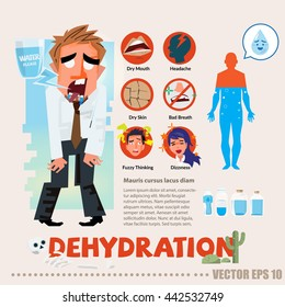 dehydrated thirsty character with infographic. typographic and logotype - vector illustration