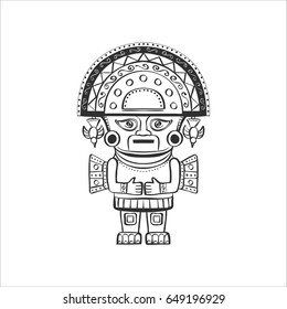 Deity of the Incas. Black and white graphics, isolated on white background, the symbol of Peru