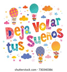 """Deja volar tus suenos - """"Let your dreams fly in Spanish"""" nursery art with cute baby animal characters"""