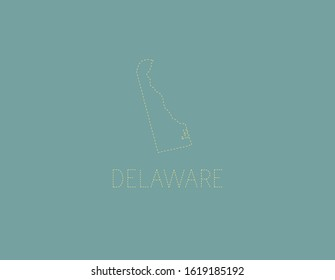 Delaware map outline dotted state USA decoration