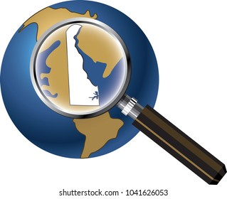 Delaware State Map Enlarged on Globe with Magnifying Glass
