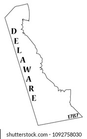 A Delaware state outline with the date of statehood isolated on a white background