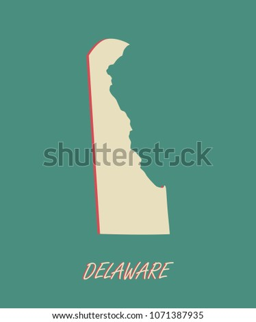 Delaware State Us Map Vector Outlines Stock Vector Royalty Free - Us-map-delaware-state