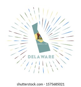 Delaware sunburst badge. The us state sign with map of Delaware with state flag. Colorful rays around the logo. Vector illustration.