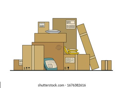 Delay in the delivery of parcels, goods, online purchases from China, Europe due to coronavirus, 2019-nCov, covid-19. Bad mail, delivery interruptions. Heaps of unsent mail boxes