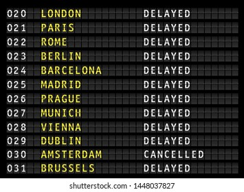 Delayed and cancelled flights on airport information display board, vector illustration