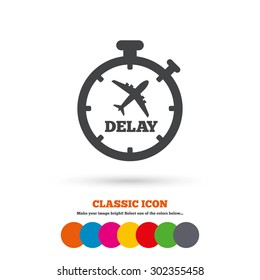 Delayed flight sign icon. Airport delay timer symbol. Airplane icon. Classic flat icon. Colored circles. Vector