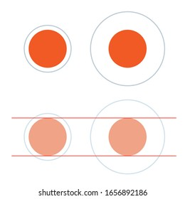 Delboeuf illusion. The two orange circles are exactly the same size.