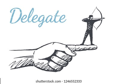 Delegate. Archer is on the index finger. Vector background concept illustration, hand drawn sketch.