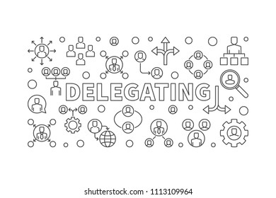 Delegating horizontal minimal illustration - vector banner made with delegation linear icons
