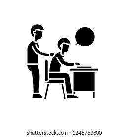 Delegation of work black icon, vector sign on isolated background. Delegation of work concept symbol, illustration