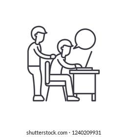 Delegation of work line icon concept. Delegation of work vector linear illustration, symbol, sign