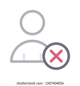 delete account colour line vector icon