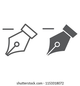 Delete anchor thin line and glyph icon, tools and design, pen sign, vector graphics, a linear pattern on a white background, eps 10.