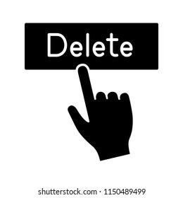 Delete button click glyph icon. Silhouette symbol. Del. Hand pressing button. Negative space. Vector isolated illustration
