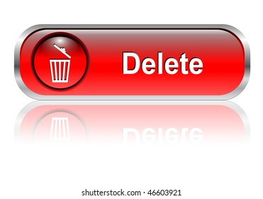 Delete button, icon red glossy with shadow, vector illustration