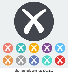 Delete button. Single flat icon on the circle. Vector illustration.