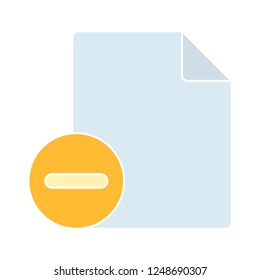 delete document icon - paper and delete sign in circle. Paper design. close symbol