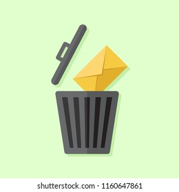 Delete email or message, trash icon and e-mail icon with green background, flat design illustration