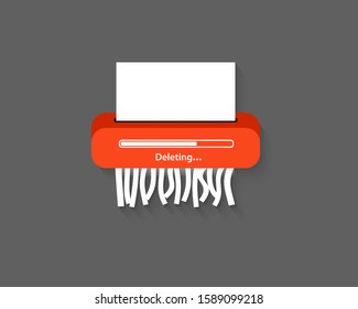Delete files or deleted documents process. Delete icon. Remove document. Paper shredder Machine. Delete button for web and mobile apps. Flat style