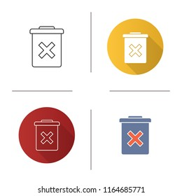 Delete forever button icon. Dustbin.Garbage can, trashcan. Do not discard. Flat design, linear and color styles. Isolated vector illustrations