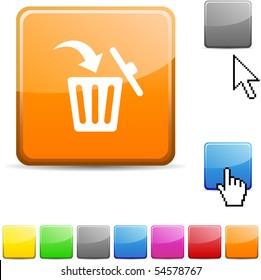 Delete glossy vibrant web icon.