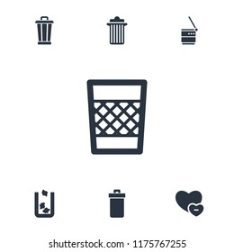 Delete icon. collection of 7 delete filled icons such as trash bin. editable delete icons for web and mobile.