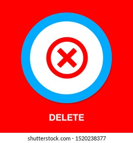 Delete icon - no sign, close symbol vector, cancel, wrong and reject illustration