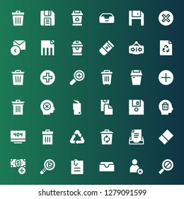 delete icon set. Collection of 36 filled delete icons included Error, Cancel, Inbox, Attached file, Search mail, Add button, Eraser, Recycle, Recycling, Trash, Delete, Diskette