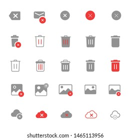 Delete icon set, remove image, delete audio, delete music, remove cloud item, delete mail, trash can, recycle bin vector for web and mobile apps