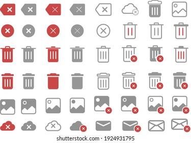Delete icon set for web and mobile apps, remove image, delete audio, delete music, remove cloud item, delete mail, trash can, recycle bin vector