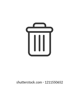 Delete icon-garbage, trash can, rubbish basket vector line icon, simple linear pictogram