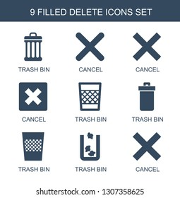 delete icons. Trendy 9 delete icons. Contain icons such as trash bin, cancel. delete icon for web and mobile.