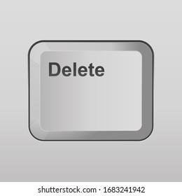 Delete keyboard button vector illustration.