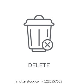 Delete linear icon. Modern outline Delete logo concept on white background from User Interface and Web Navigation collection. Suitable for use on web apps, mobile apps and print media.