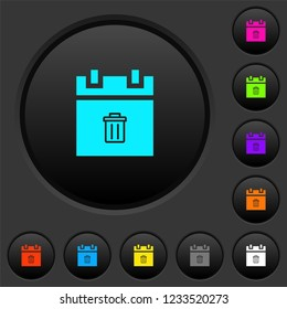 Delete schedule item dark push buttons with vivid color icons on dark grey background