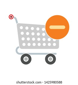 delete from shopping cart icon. flat illustration of delete from shopping cart vector icon for web