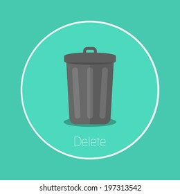 """Delete : Vector """"bin"""" icon flat design"""