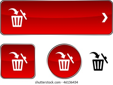 Delete  web buttons. Vector illustration.