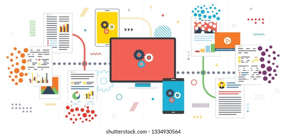 Deleting system data and computer network. Organize paperwork and files, eliminate trash.Template in flat design for web banner or infographic with icons in vector illustration.