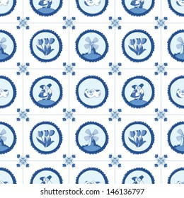 Delft blue seamless pattern. EPS 10. No transparency. No gradients.
