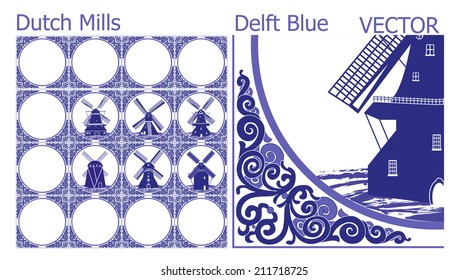 Delft Blue tiles (pattern) with Dutch Windmill pictures