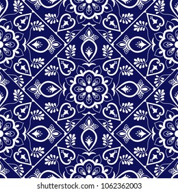 Delft dutch tile pattern vector with scale blue and white ornaments. Portuguese azulejo, mexican talavera, spanish or italian sicily majolica. Tiled texture for kitchen or bathroom flooring ceramic.